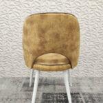 Cadeira de Bracos Mendi em tecido veludado amarelo e pes madeira pintada a branco 4