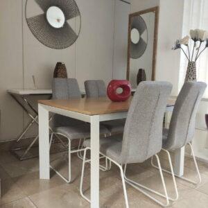 Camila Mesa de Jantar Retangular Extensivel com tampo em Carvalho castalho cor mel e pes em ferro pintado a branco 1