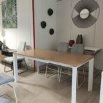 Camila Mesa de Jantar Retangular Extensivel com tampo em Carvalho castalho cor mel e pes em ferro pintado a branco 3