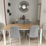 Camila Mesa de Jantar Retangular Extensivel com tampo em Carvalho castalho cor mel e pes em ferro pintado a branco 4
