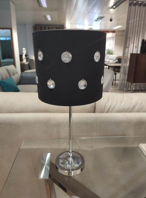 Candeeiro de Mesa Diamond com pe em metal e abajour cristal 2