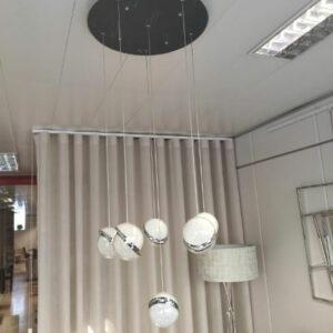 Candeeiro de Teto Bolas Prateadas Suspensas com 50x50x100cm altura regulavel 2