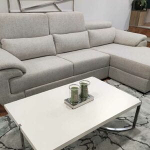 Chaise Lounge relax Oasis com chaise lado direito em tecido mescaldo branco com ajuste de apoio de cabeca Crispalmovel 1