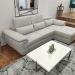 Chaise Lounge relax Oasis com chaise lado direito em tecido mescaldo branco com ajuste de apoio de cabeca Crispalmovel 2
