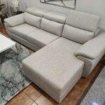 Chaise Lounge relax Oasis com chaise lado direito em tecido mescaldo branco com ajuste de apoio de cabeca Crispalmovel 5
