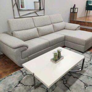 Chaise Lounge relax Oasis com chaise lado direito em tecido mescaldo branco com ajuste de apoio de cabeca Crispalmovel 6