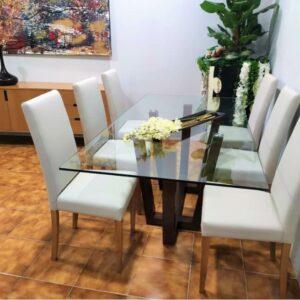 Conjunto Sala de Jantar Will com Mesa de Vidro 6 cadeiras e aparador 1