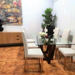 Conjunto Sala de Jantar Will com Mesa de Vidro 6 cadeiras e aparador 4
