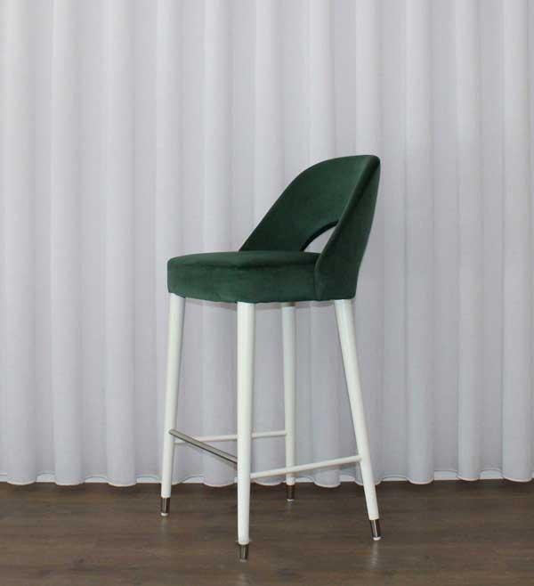 957 SONIA Banco Bar estofo verde e pes lacado branco