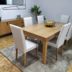 Conjunto de Sala Clara com Mesa Extensivel aparador e 6 cadeiras 4