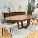 Mesa de Jantar Oval Extensivel Zoe em madeira com pes cruzados 1