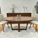 Mesa de Jantar Oval Extensivel Zoe em madeira com pes cruzados 3