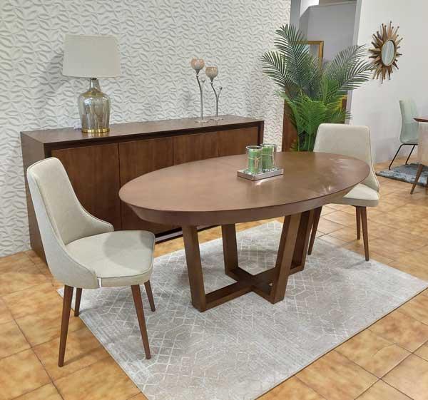 Mesa de Jantar Oval Extensivel Zoe em madeira com pes cruzados 6