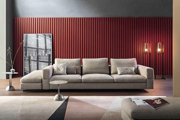 Sofa de 3 Lugares Atenas em tecido bege confortavel e envolvente frente