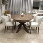 Kiara Mesa de Jantar Extensivel Oval em Nogueira com pe centrado em cruz Crispalmovel Loja de Moveis e Decoracao 4