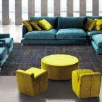 Sofa de Canto Toscana em tecido turquesa e pes em inox 1