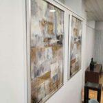 Quadro decorativo Cubilar tela em tons neutros com contraste e folha dourada com moldura Crispalmovel Moveis e Decoracao 2
