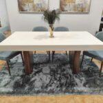 Tina Mesa de Jantar Rectangular Duplamente Extensivel com tampo lacado branco e pes em madeira pau ferro 2