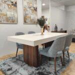 Tina Mesa de Jantar Rectangular Duplamente Extensivel com tampo lacado branco e pes em madeira pau ferro 4