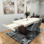 Tina Mesa de Jantar Rectangular Duplamente Extensivel com tampo lacado branco e pes em madeira pau ferro 5
