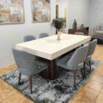 Tina Mesa de Jantar Rectangular Duplamente Extensivel com tampo lacado branco e pes em madeira pau ferro 8