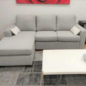 Ruby Chaise Lounge Tecido Cinza de 3 Lugares e pes pretos Economico Crispalmovel 1