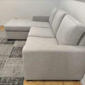 Ruby Chaise Lounge Tecido Cinza de 3 Lugares e pes pretos Economico Crispalmovel 3