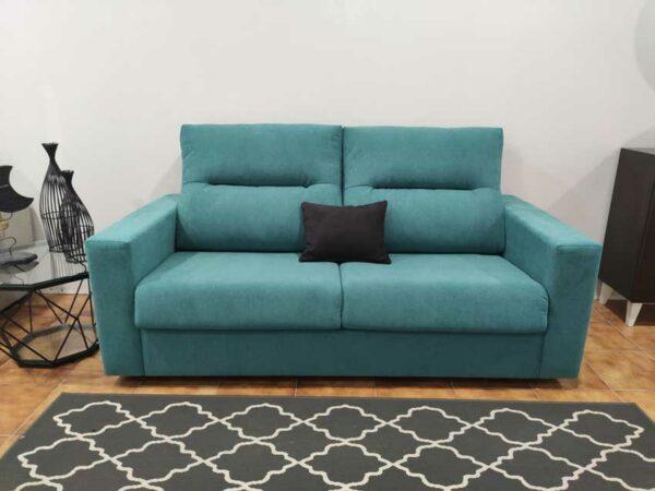 Sofa Cama 2 Lugares Goya Tecido cor Turquesa colchao 140x185cm e pes pretos Crispalmovel 2