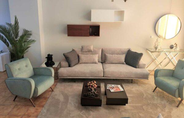 Tousi Sofa de 2 e 3 Lugares de alta gama em tecido bege com sistema elevatorio de almofadas Crispalmovel 2